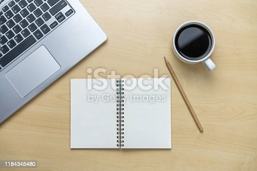 843814242 istock photo Office desk workspace and table background. 1184345480