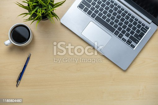 843371502 istock photo Office desk workspace and table background. 1185804482