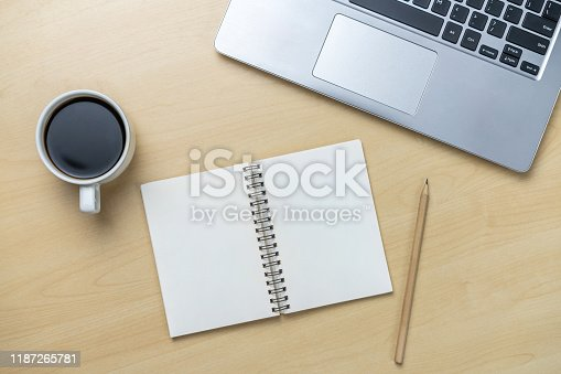 843814242 istock photo Office desk workspace and table background. 1187265781
