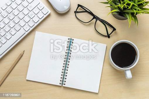 843814242 istock photo Office desk workspace and table background. 1187265801