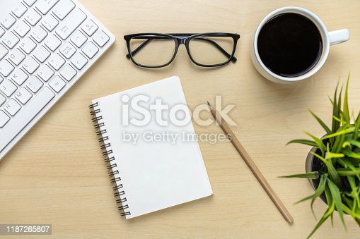 843814242 istock photo Office desk workspace and table background. 1187265807