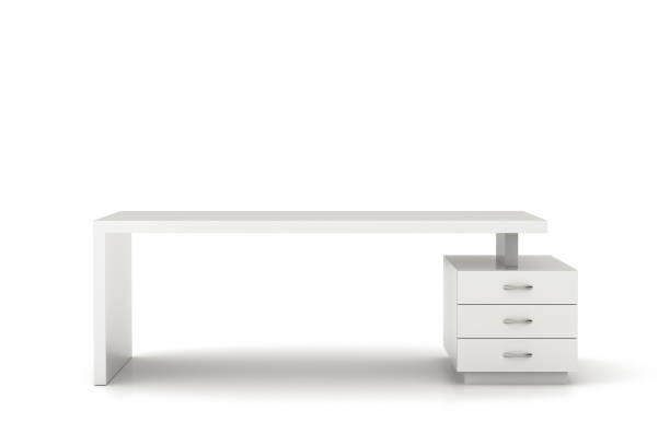 Office desk workspace Empty white office desk workspace isolated. Include clipping path. 3d illustration. empty desk stock pictures, royalty-free photos & images