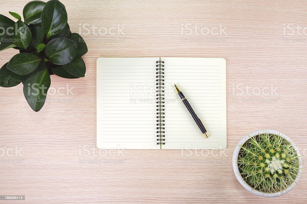 Office desk:plant and notebook,pen royalty-free stock photo