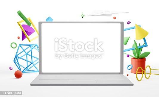 1173922060 istock photo Office desktop mockup 1173922053