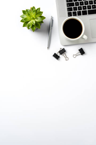 Office desktop with copy space stock photo
