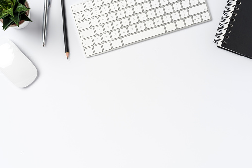 Office desktop with copy space