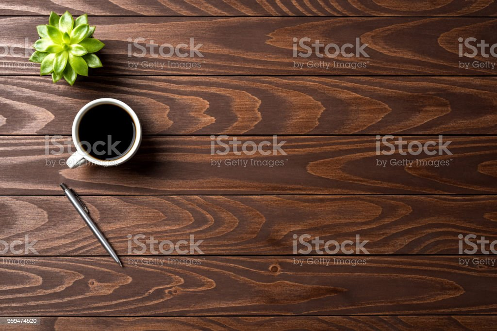 Office desktop with cup of coffee. Top view stock photo