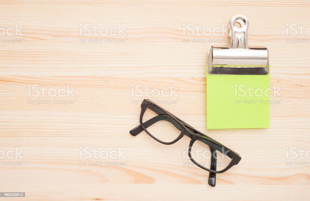 Office desktop with glasses ロイヤリティフリーストックフォト