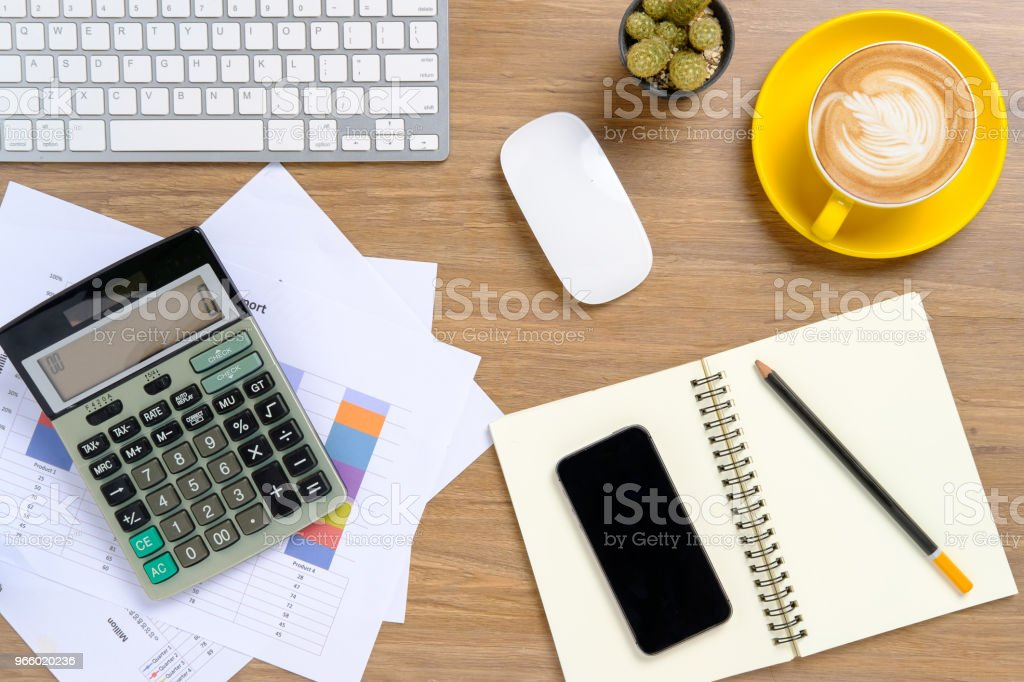 Office desktop with keyboard,calculator - Royalty-free Above Stock Photo
