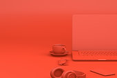 istock Office desktop with Laptop, Red Background, Technology Concept. 1124347647