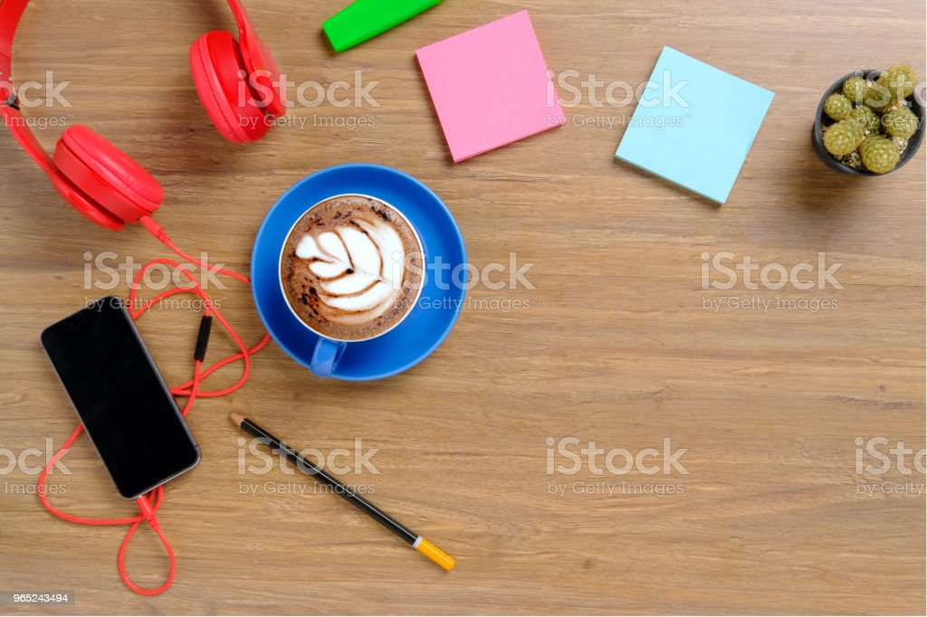 Office desktop with supplies. zbiór zdjęć royalty-free