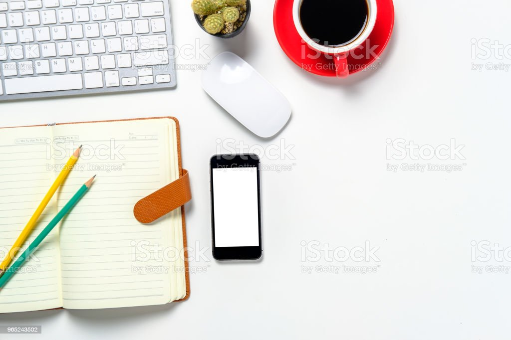 Office desktop with supplies. royalty-free stock photo