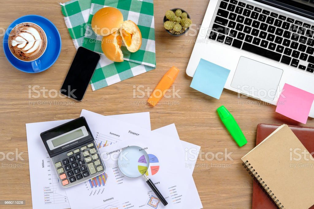 Office desktop with supplies. - Royalty-free Above Stock Photo