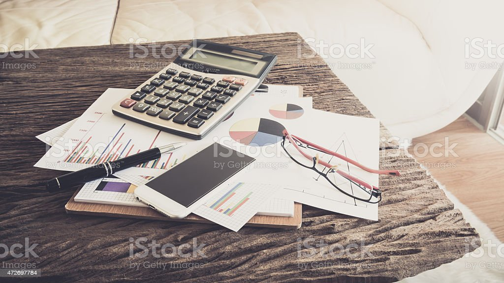 Office desk,Working on a Wooden Table stock photo