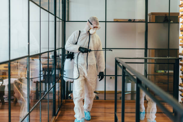 Office disinfection during COVID-19 pandemic Man in protective suit and face mask spraying for disinfection in the office decontamination stock pictures, royalty-free photos & images