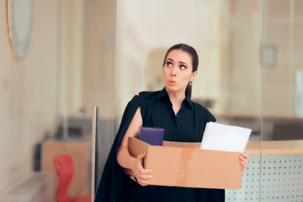 Office Employee Being Fired or Resigning after Work Conflict Dismissed worker leaving office job after termination quitting a job stock pictures, royalty-free photos & images