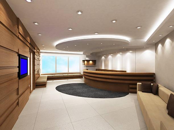 büro-eingang-bereich mit rezeption - eingangsbereich teppich stock-fotos und bilder