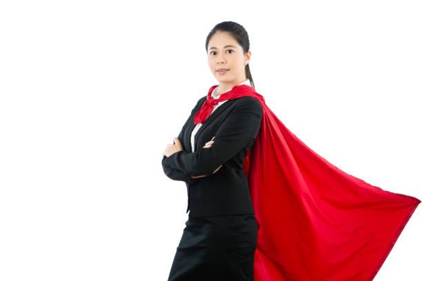 office kvinnlig superhjälte stående på den vita väggen - superwoman barn bildbanksfoton och bilder