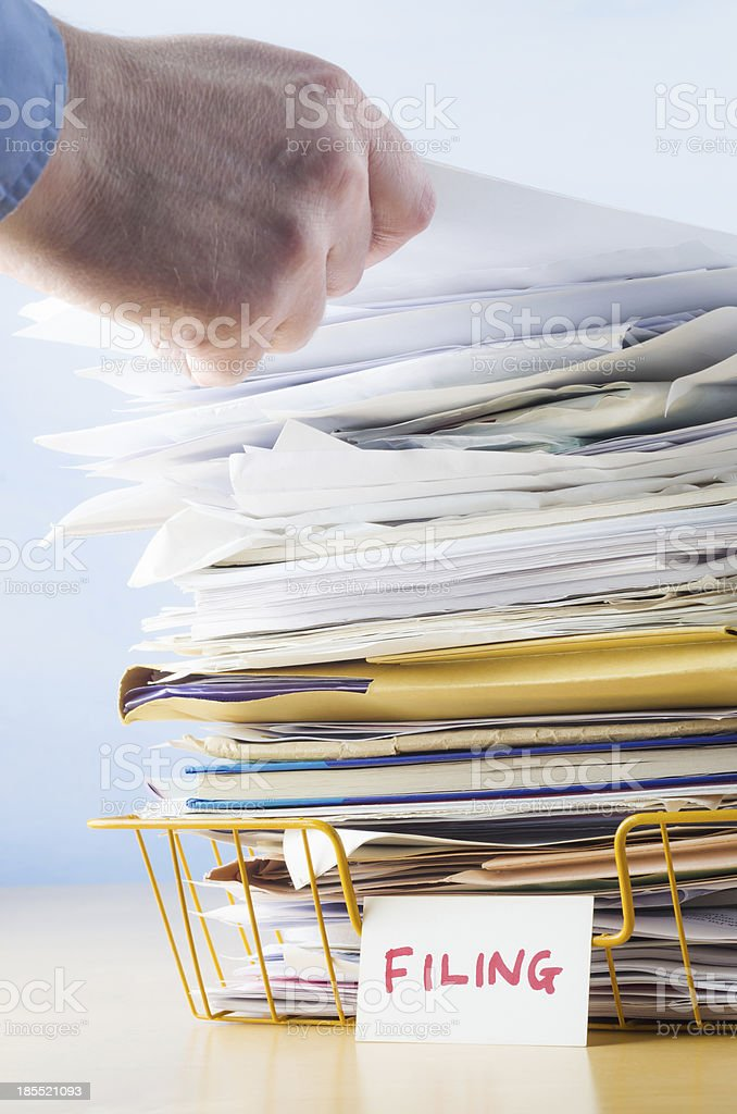 Office Filing Tray with Hand stock photo