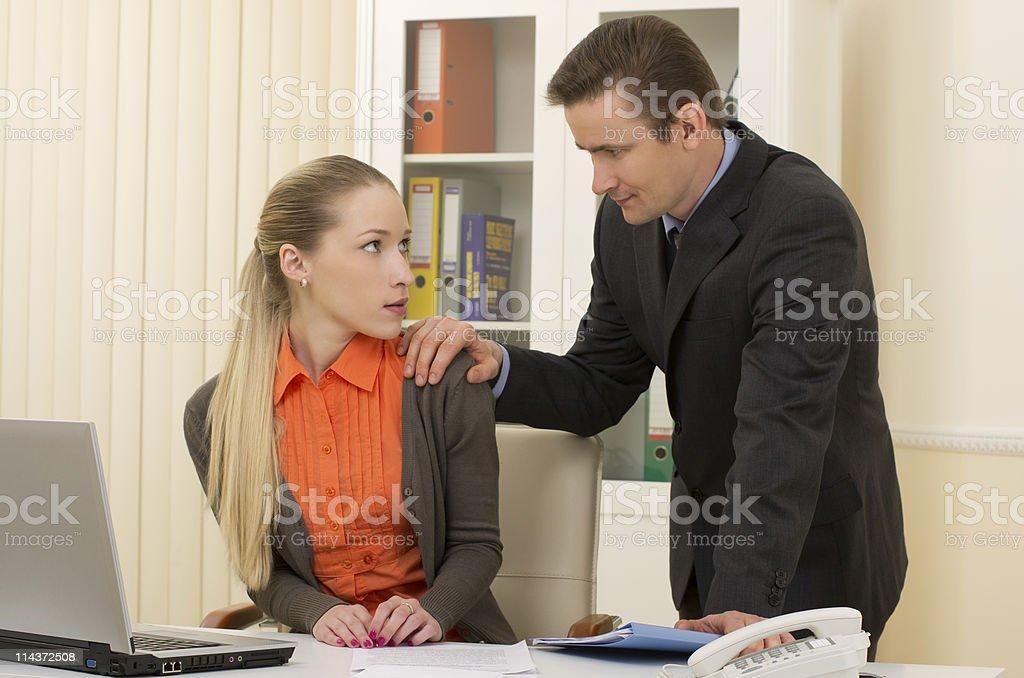 Office flirting royalty-free stock photo