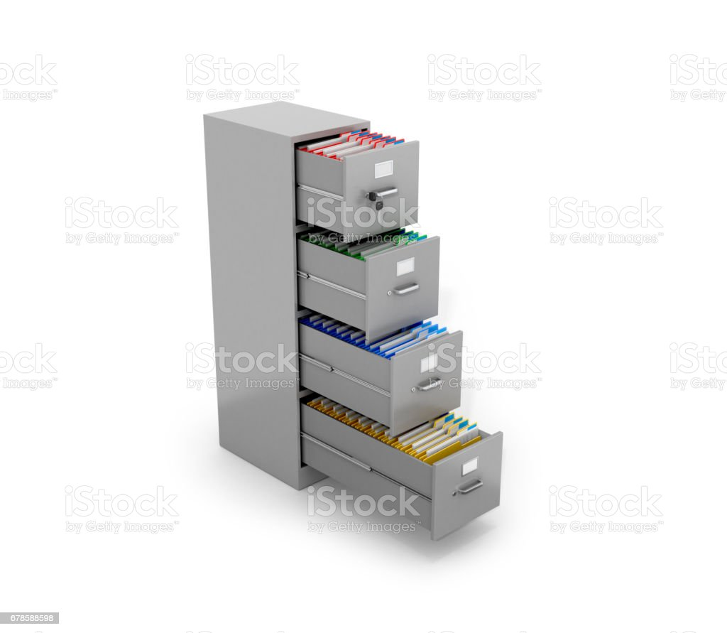 Office folders are located in the office tables. 3D illustration. stock photo