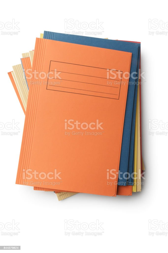 Office: Folders Isolated on White Background stock photo
