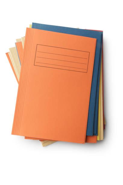 Office: Folders Isolated on White Background stock photo