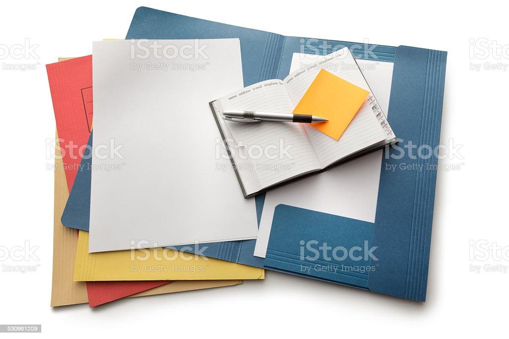 Bureau: Dossiers, ordinateur portable et stylo - Photo de 2015 libre de droits