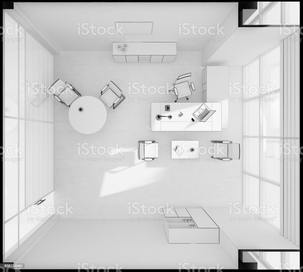 VIP office furniture top view stock photo