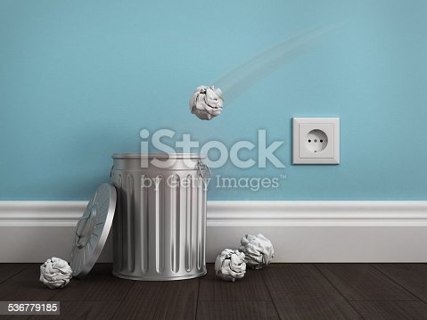 istock office garbage near metal basket 536779185