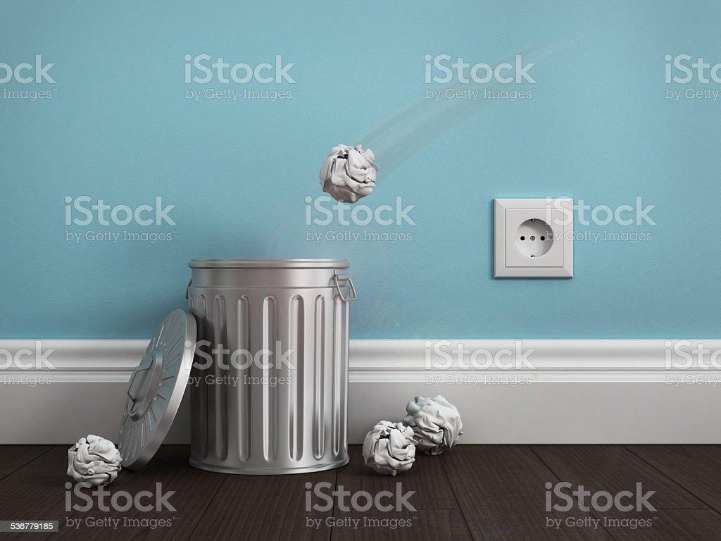 office garbage near metal basket stock photo