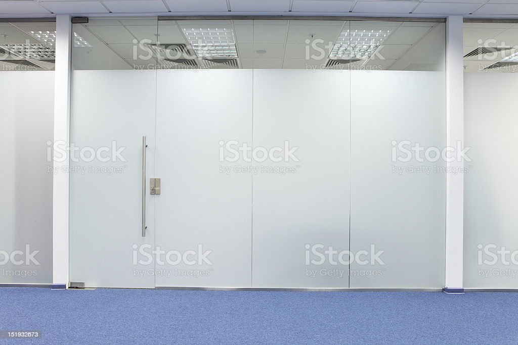Office glass door main entrance stock photo