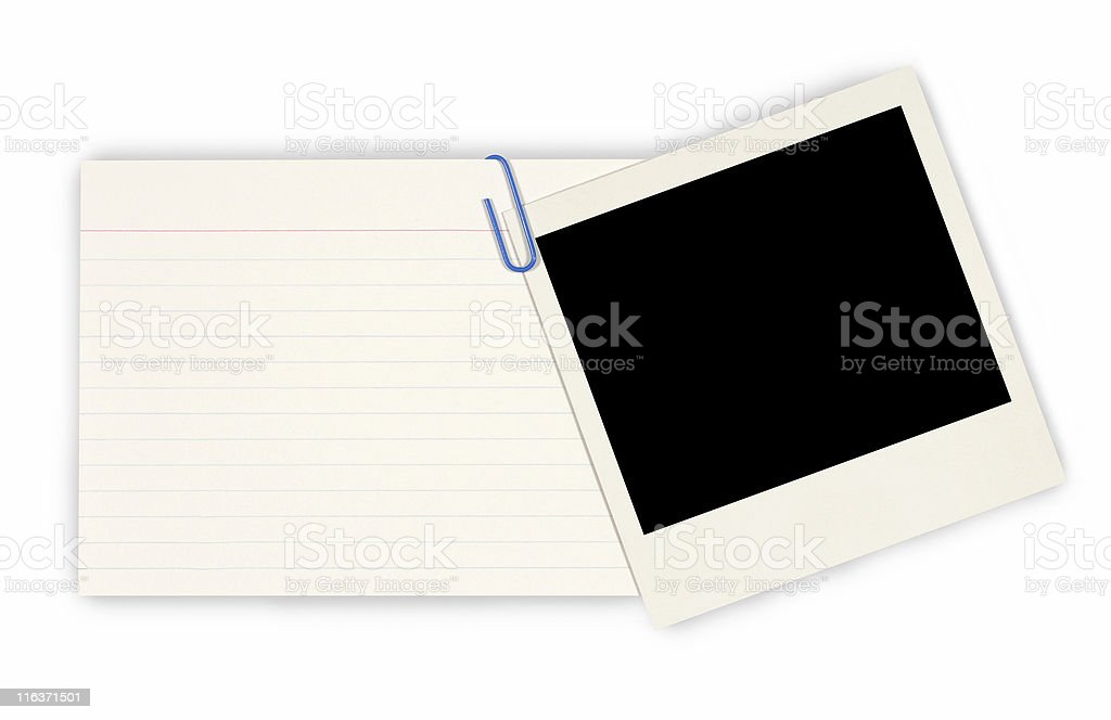 Office index card with blank instant photo print royalty-free stock photo