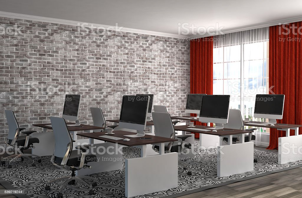Office Interior 3d Illustration Stock Photo - Download Image Now