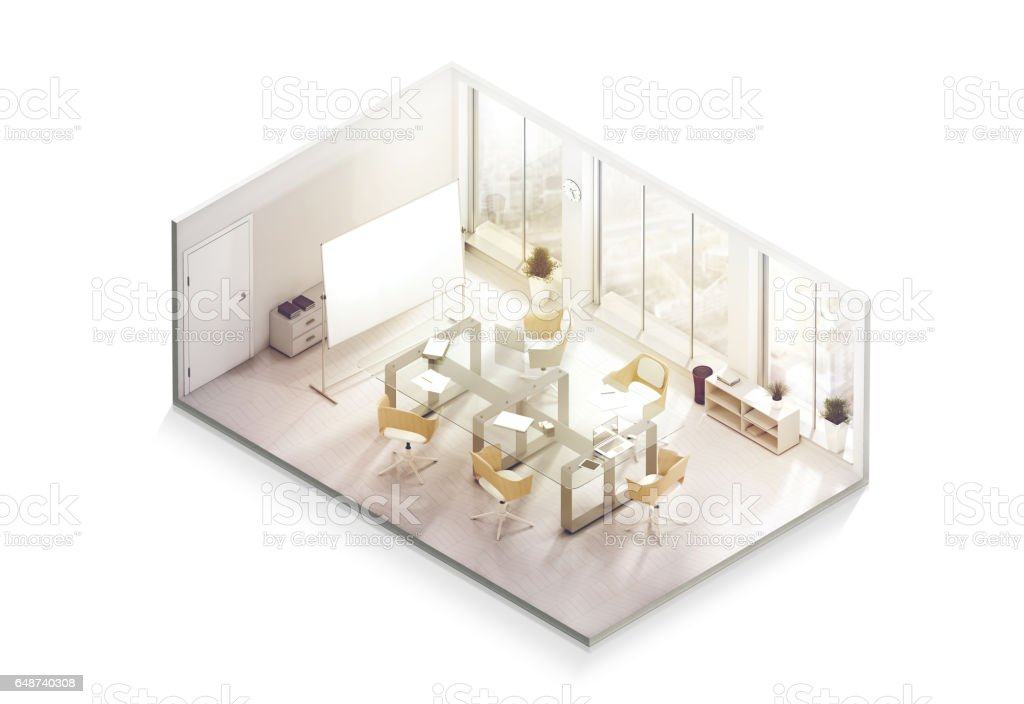 Office interior design mockup inside, isometric view stock photo