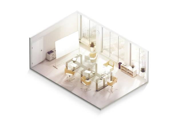 Maqueta de diseño de interiores de oficina interior, perspectiva isométrica - foto de stock
