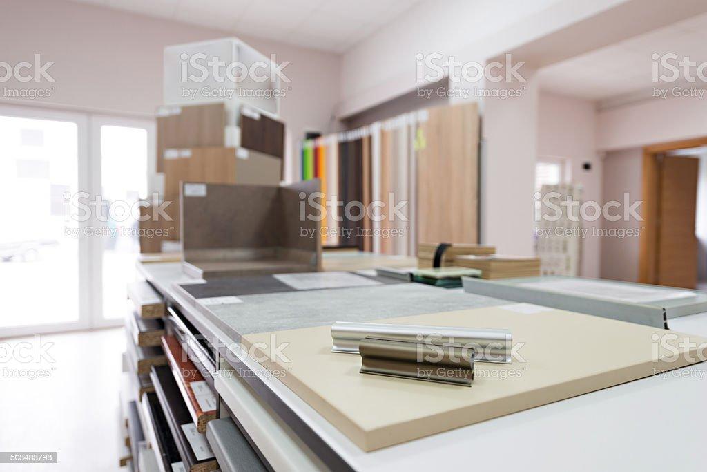 Office interior in furniture showroom stock photo