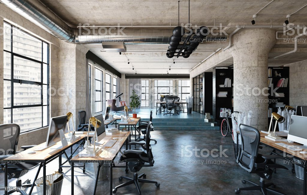 Office Interior In Loft Industrial Style Stock Photo Download Image Now Istock