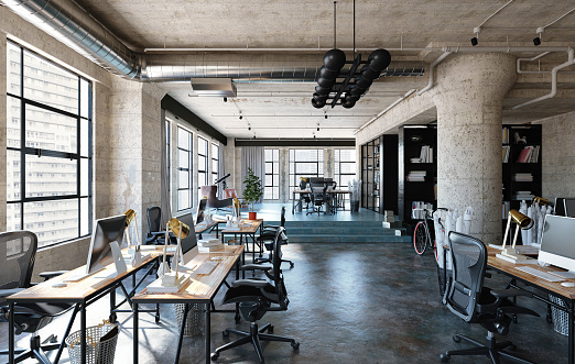 Office Interior In Loft Industrial Style Stock Photo - Download Image Now -  iStock