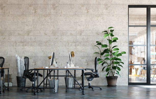 Office interior in loft, industrial style Office interior in loft, industrial style, 3d render office stock pictures, royalty-free photos & images