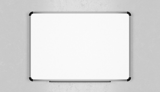 Office interior with blank whiteboard