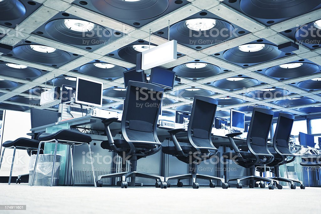Office Interior With Chairs and Computers, Low Angle View stock photo