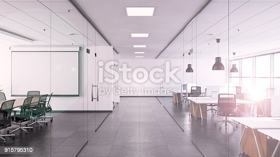 istock Office interior with large desk and blank writing board 915795310