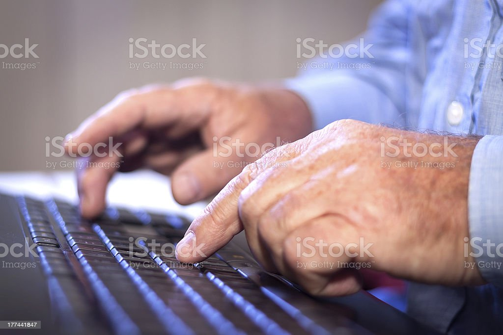 Office job. Typing on a Computer Keyboard. royalty-free stock photo
