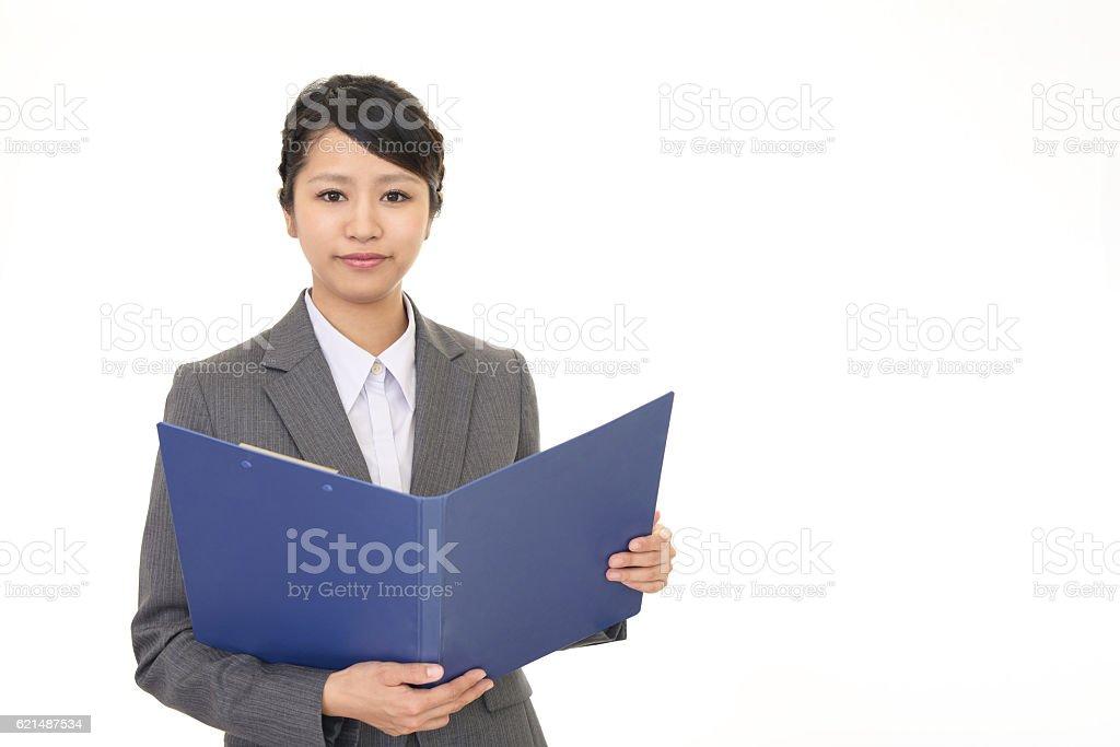 Femme souriant bureau photo libre de droits