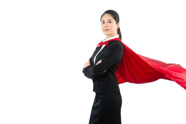 office lady mit flatternden roten umhang - damen umhänge stock-fotos und bilder