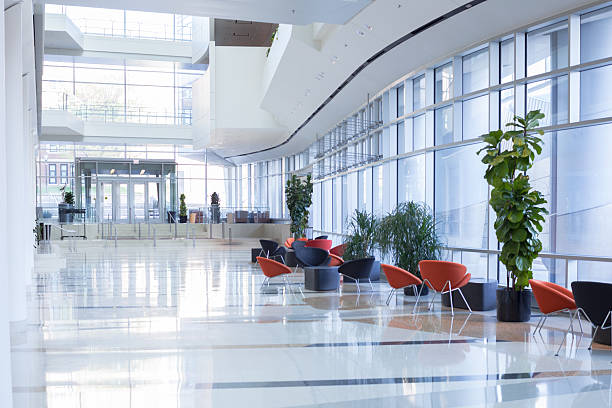 office lobby - entrance stock photos and pictures