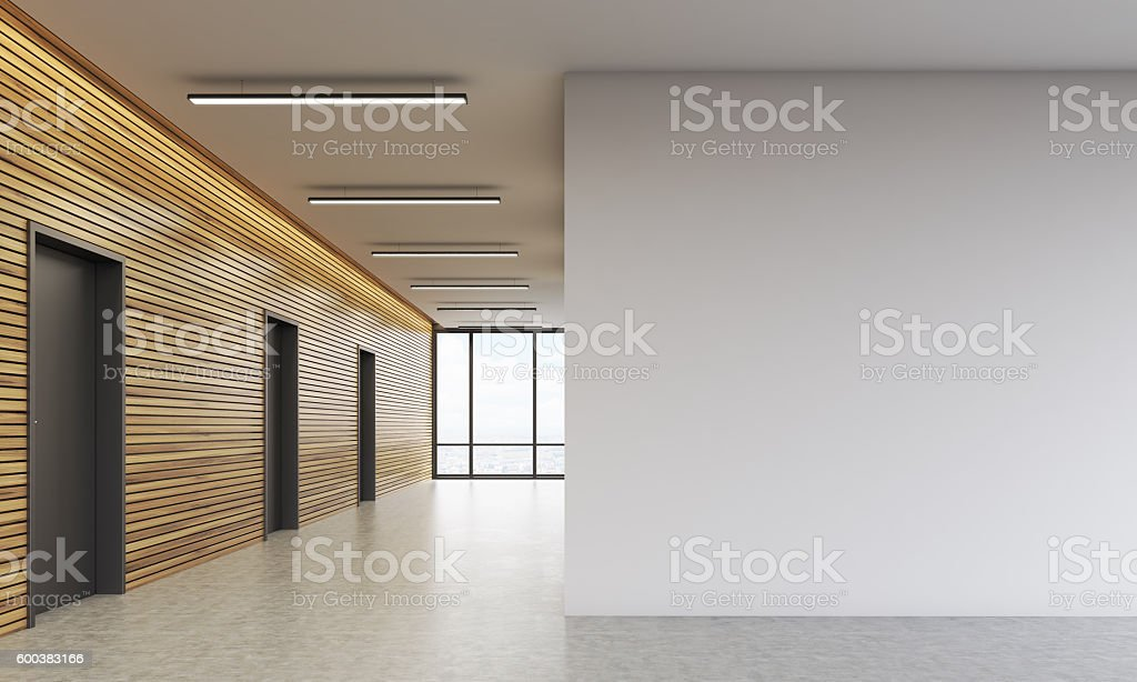 Office lobby with white wall stock photo