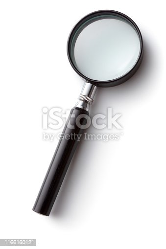 Office: Magnifying Glass isolated on White Background