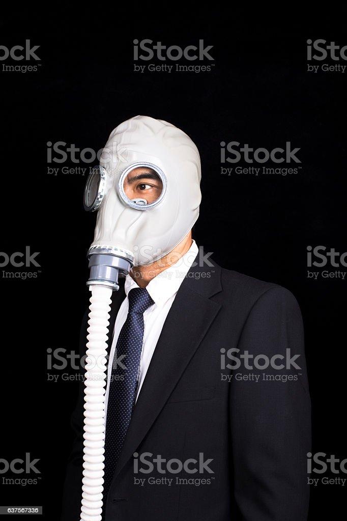office man wearing gas mask stock photo